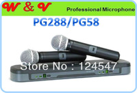 Free Shipping Wireless Microphone Dual channel Wireless karaoke microphone P 288 VHF WIRELESS COMBO MICROPHONE P 58