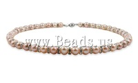 Free shipping!!!Natural Cultured Freshwater Pearl Jewelry Sets,christmas, bracelet & earring & necklace, with Rhinestone, Round