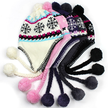Winter new arrival aircraft cap pattern yarn knitted fur ball bianzi short plush warm earmuffs hat