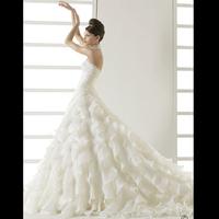 2014 vestido de noiva romantic  Lace halter-neck 201   of the lotus leaf stromatolith train   047 wedding dress dresses