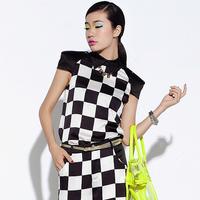 2013 satin chiffon black and white plaid shirt pullover top t-shirt s070su13
