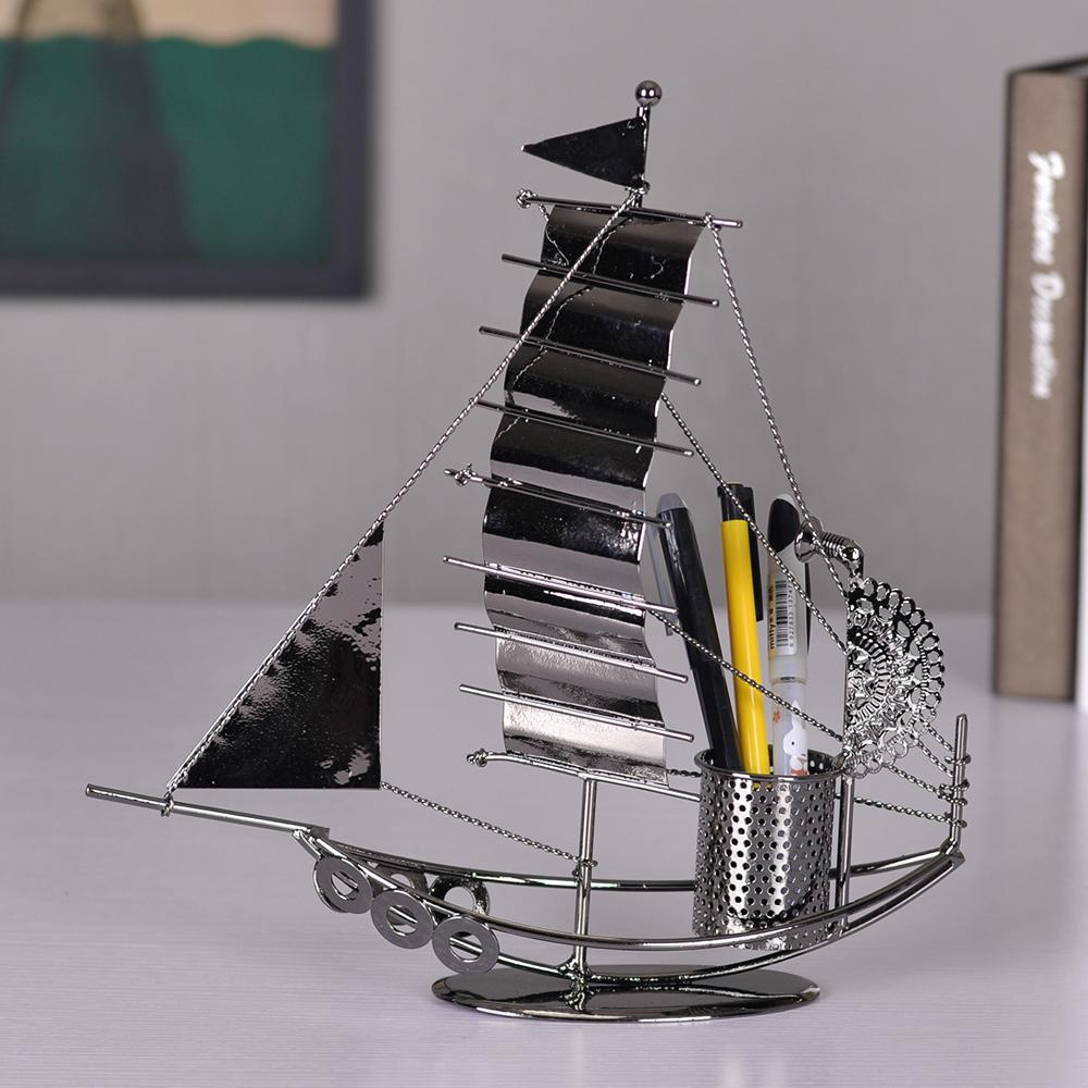 Modern office desk decoration birthday small gifts metal sailboat pen(China (Mainland))