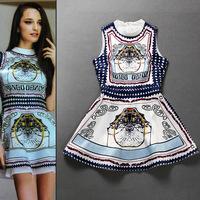 Hot!New In 2013 Preppy Style Women Vintage Print Sleeveless Flare Dress Beautiful Sundresses SS13235 Wholesale