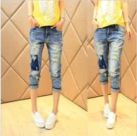 jeans for women pockets bleached washed panelled skinny fashion new 2014 arrival summer rivet short jeans ankle length trousers
