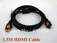 Free Shipping old-plated 5ft 1.5m hdmi cable 1.4 with nylon mesh&dual ferrite cores hdmi cable 1080p