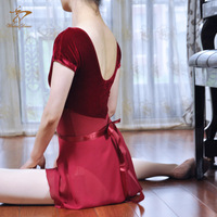 Special design cap sleeve U back adult cotton velvet women leotard ballet dance wear free shipping