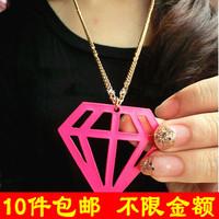free shipping wholesale 10pcs/lot D041 fashion small accessories neon cutout diamond triangle necklace