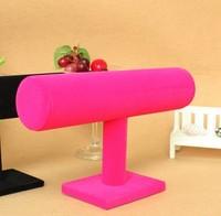 Wholesale Hot Pink Velvet T-Bar Jewelry Display Stand Watch Bracelet Rack Holder