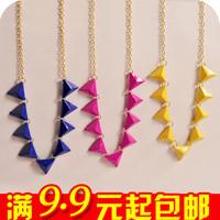 free shipping wholesale 10pcs/lot E4098 fashion accessories neon color fashion rivet triangle necklace collar necklace