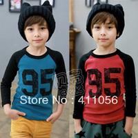 2013 autumn digital 95 paragraph of boys clothing child color block decoration long-sleeve T-shirt tx-1370