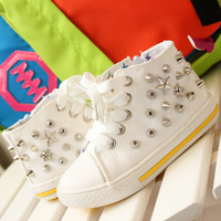 Children shoes cool male child high rivet shoes white canvas shoes skull