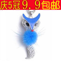 free shipping wholesale 10pcs/lot A-0336 2014 necklace full rhinestone fox wool female necklace accessories
