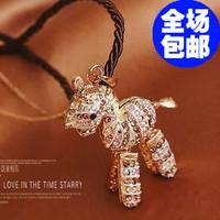 wholesale 10pcs/lot 6047 accessories necklace small horse long design diamond necklace gem accessories female