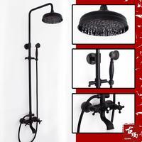 Black antique copper lift quality shower set fashion double with bathroom k84
