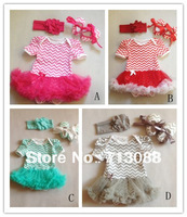 hot sale chevron baby romper with tutu with match baby shoes and headband set