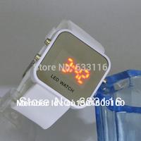 2pcs/lot wholesale new hot sale LED Mirror Digital Plastic frame wrist watch Silicone strap Candy Quartz girls free shipping