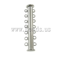 Free shipping!!!Brass Slide Lock Clasp,DIY,Jewelry DIY, platinum color plated, 7-strand, nickel, lead & cadmium free, 10x40x7mm