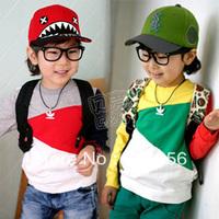 2013 autumn color block boys clothing girls clothing baby child o-neck long-sleeve sweatshirt wt-0987