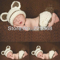 Free Shipping Lovely Animals Baby Knit Crochet Knitting Cap Cartoon Photography Props Newborn Hats Sets Handmade 0-3 month