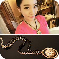Fashion personality on0404 accessories royal vintage flannelet metal coarse chain necklace female short design