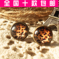 Free shipping wholesale Small accessories 2014 vintage leopard print gem stud earring