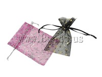 Free shipping!!!Jewelry Drawstring Bags,Jewelry Blanks, Organza, printing, translucent, mixed colors, 19x30cm, 500PCs/Bag