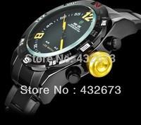 Hongkong Post Free Shipping Weide Fashion LED Multifunction Dual Core Display Digital Sports Stainless Steel Men's Diving Watch