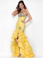 Beading Crystal Sequin  Front Short Long Back Hot Sexy Sheath Bandage Trumpet  Mermaid Orange Prom Party Dress Evening Dress