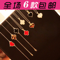 Free shipping wholesale Accessories personalized four leaf grass love necklace chain necklace