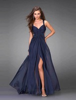 Charming Navy Blue Spaghetti Strap Hot Sexy Deep Vneck Formal Prom Party Dress Evening Dress