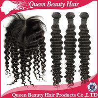 1Piece Lace Top Closure with 3Pcs Brazilian Virgin Hair Bundle 4pcs lot deep Wave kinky curly Mixed length origin human products