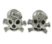 Free shipping!!!Zinc Alloy Stud Earring,Fashion Jewelry in Bulk, brass post, Skull, platinum color plated, enamel, nickel
