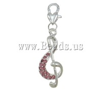Free shipping!!!Zinc Alloy Lobster Clasp Charm,2013 new men, Music Note, silver color plated, with rhinestone, nickel