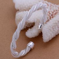 Lose Money Promotions! Wholesale 925 silver bangle bracelet, 925 silver fashion jewelry, Twisted Web Silvery Bangle B020