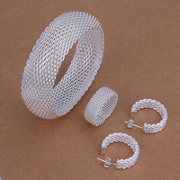 Wholesale! Free shipping! high quality 925 Sterling silver fashion jewelry, Closed Mesh Ring Earrings Bangle Jewelry Set S301