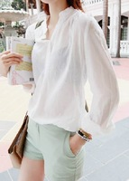 Women's 2013 fashion brief fashion solid color long-sleeve stand collar shirt all-match basic top