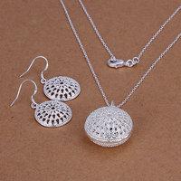 Free Shipping Wholesale 925 silver jewelry set, fashion jewlery set Bun Earrings Necklace Jewelry Set S202