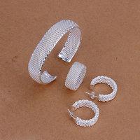 Free Shipping Wholesale 925 silver jewelry set, fashion jewlery set Mesh Ring Earrings Necklace Jewelry Set S249