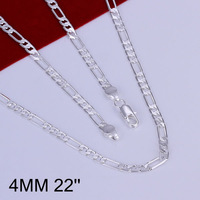 """Wholesale High Quality Fashion Jewelry Necklace 925 Silver Necklace Free Shipping 4Mm Necklace-22"""" N102-22"""