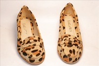 Fashion fashion british style horsehair leopard print flat low-heeled round toe single shoes vintage personality casual shoes