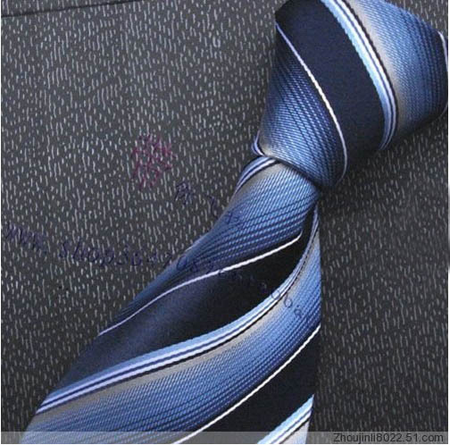 Male tie commercial blue stripe tie formal tie mulberry silk wool lining suit collar belt(China (Mainland))