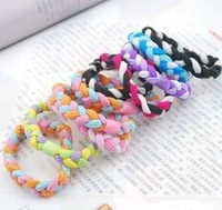 Coarse elastic woven braids color elastic hair bands