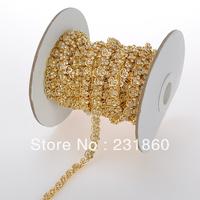 1 Yard Clear Rhinestone Golden Chain Bridal Dress Costume Heart Trim Applique
