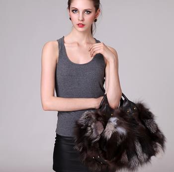 High quality accessories women's handbag fur bag handbag fox fur bg0382
