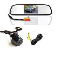 mirror monitor 4.3Inch car TFT  + 18.5mm mini parking line hd camera system AV2 for back-view camera