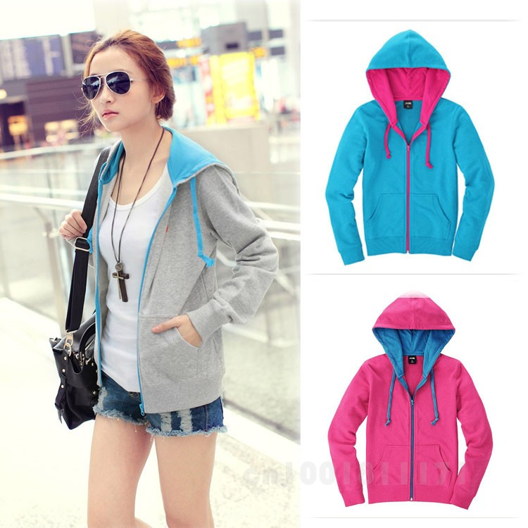 GOOD SALE WOMEN'S CASUAL LONG-SLEEVED HOODED CARDIGAN SWEATER JACKET GWF-64394(China (Mainland))
