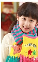 Free shipping WJ10 The new children's winter models star knitted scarf fringed scarves
