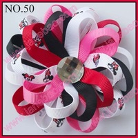 free shipping 32pcs 4.25'' flower loopy bows Boutique Girls hair clips beautiful bow holder