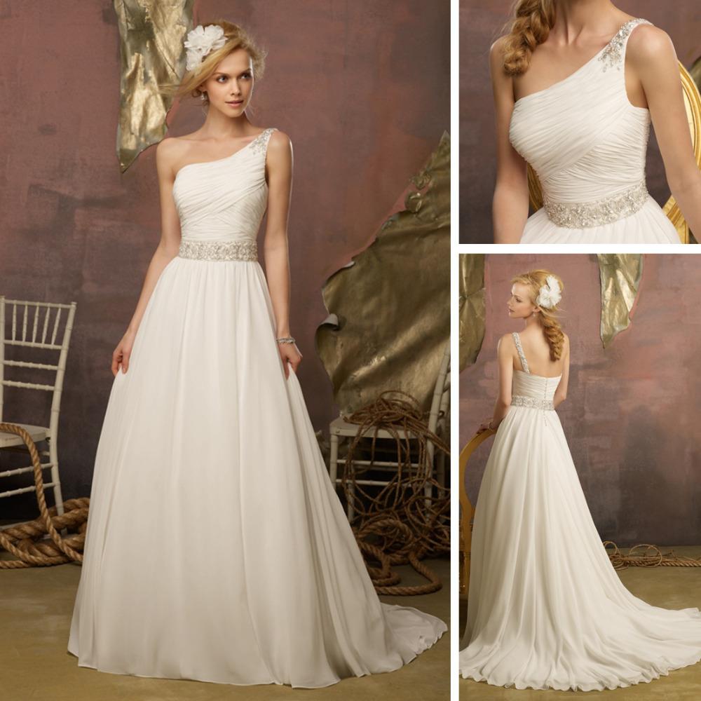 We165 2013 beaded casual beach one shoulder chiffon beach for One shoulder beach wedding dress