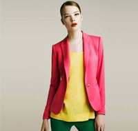 Free shipping 2013 British style one button all-match personality candy color women slim suit blazer female outerwear